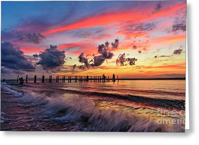 Greeting Card featuring the photograph Wake Ripples by DJA Images