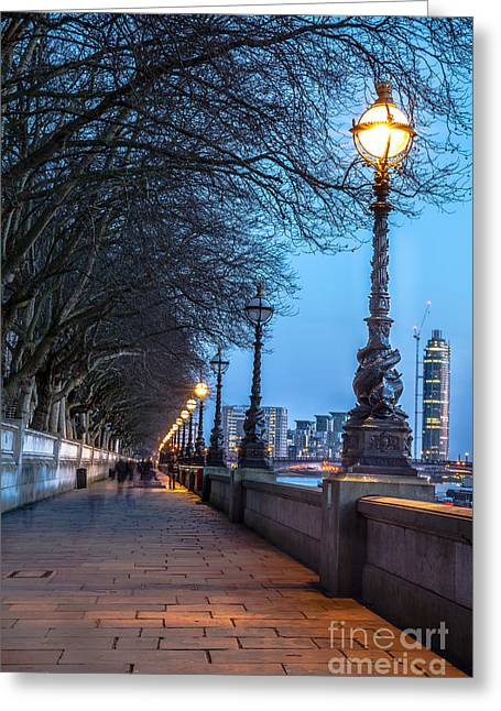Walk Along The Thames In London Greeting Card