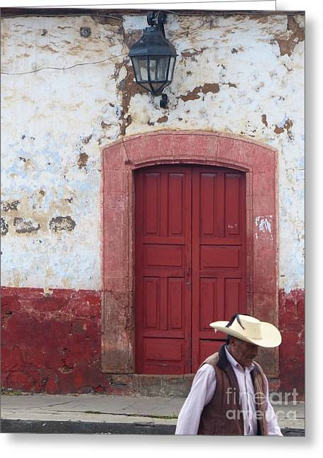 Greeting Card featuring the photograph Walking By In Patzcuaro by Rosanne Licciardi