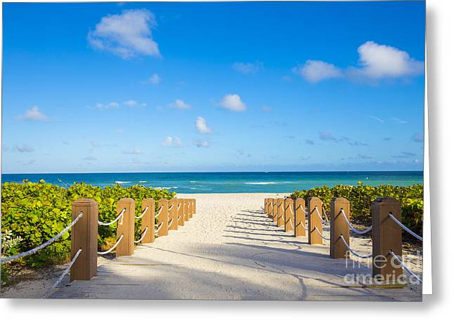 Walkway To Famous South Beach, Miami Greeting Card