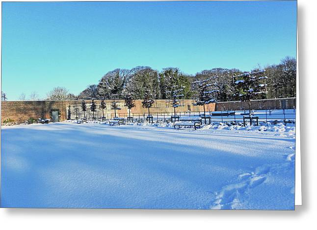 Walled Garden In The Snow Greeting Card