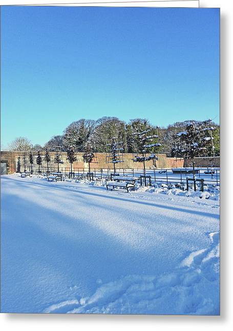 Walled Garden Winter Landscape Greeting Card