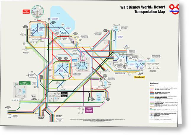 Walt Disney World Resort Transportation Map Greeting Card