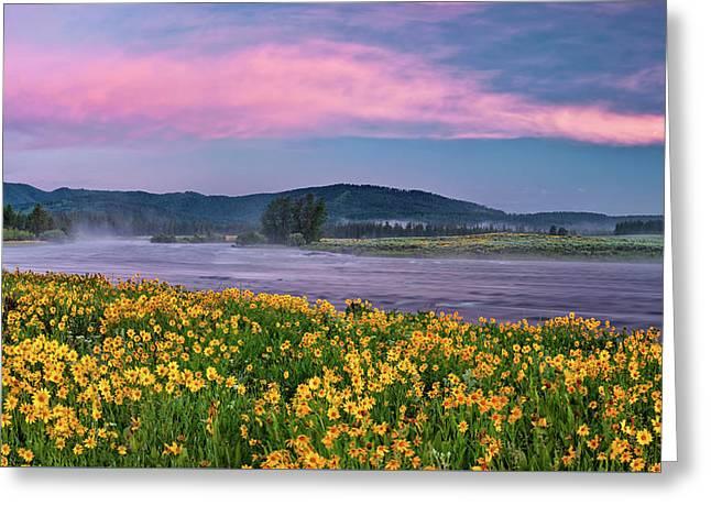 Warm River Spring Sunrise Greeting Card