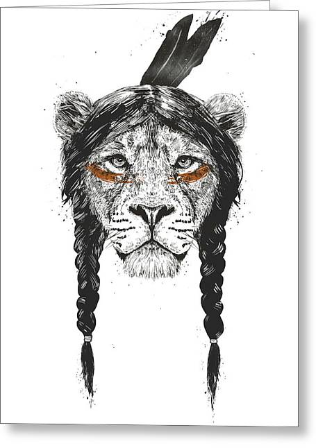 Warrior Lion Greeting Card