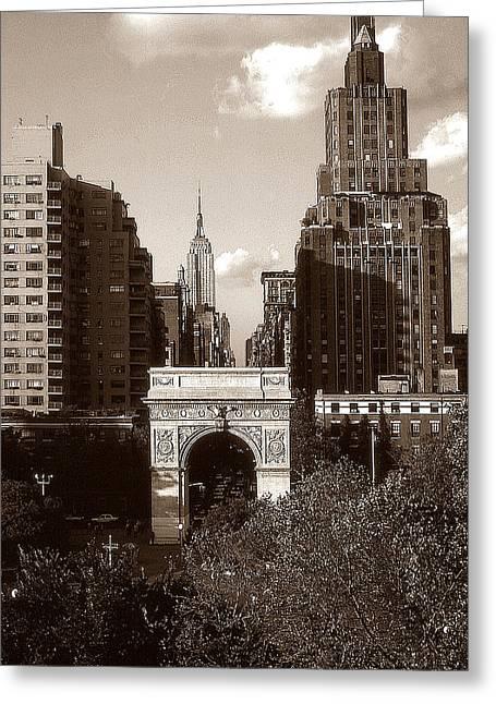 Washington Arch And New York University - Vintage Photo Art Greeting Card