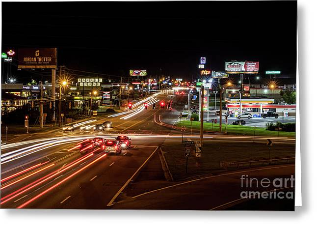 Washington Road At Night - Augusta Ga Greeting Card