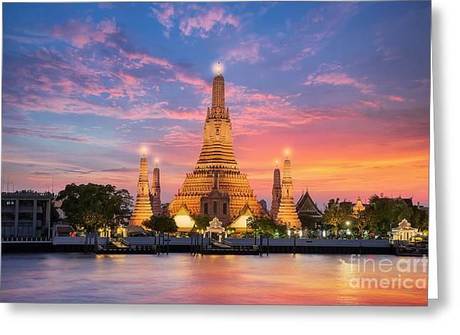 Wat Arun Night View Temple In Bangkok Greeting Card