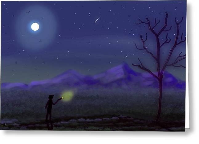 Watching Shooting Stars Greeting Card