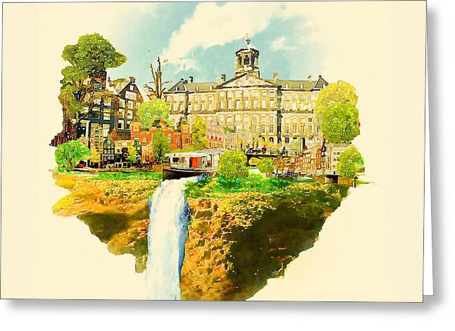 Water Color Illustration Amsterdam Scene Greeting Card