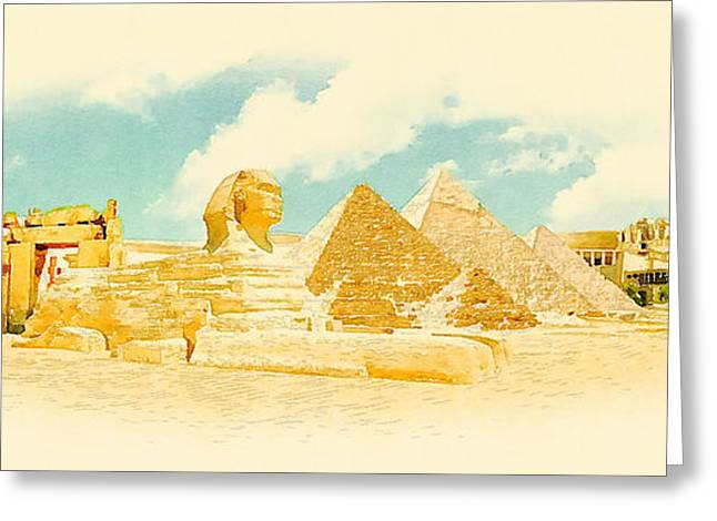 Water Color Panoramic Egypt Illustration Greeting Card
