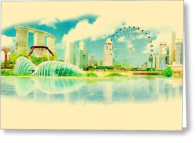 Water Color Panoramic Vector Singapore Greeting Card