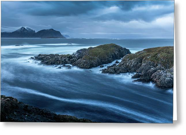Water Flow At Stormy Sea Greeting Card