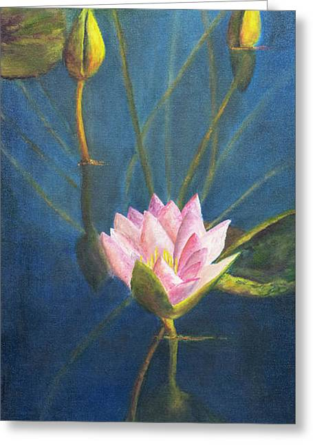 Greeting Card featuring the painting Water Lily by Nancy Strahinic