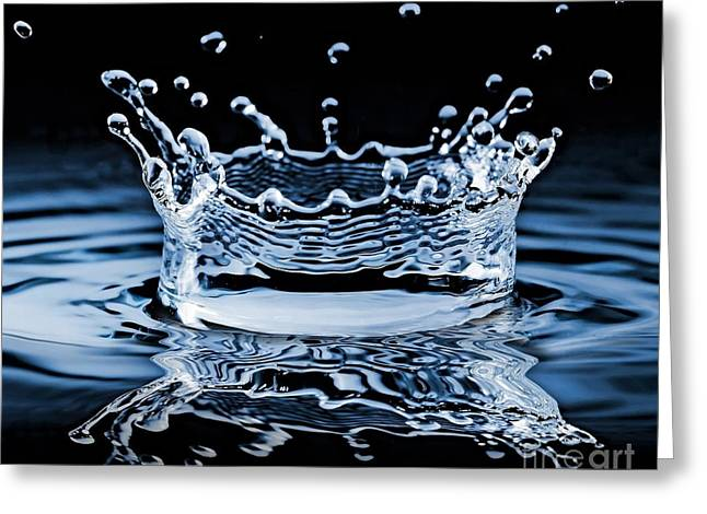 Water Splash On Black Background Greeting Card