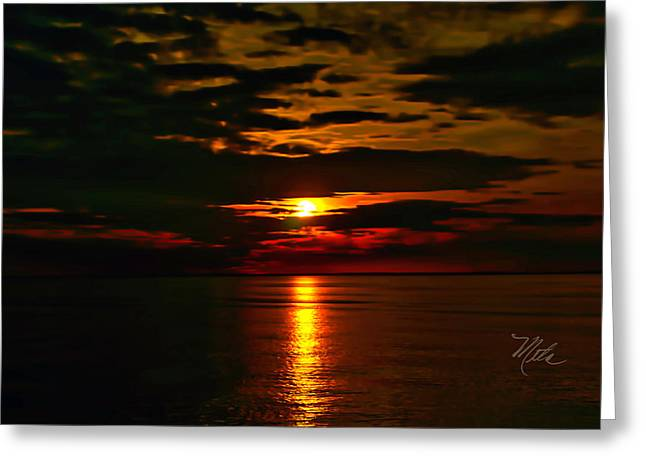 Greeting Card featuring the photograph Water Sunset Clouds by Meta Gatschenberger