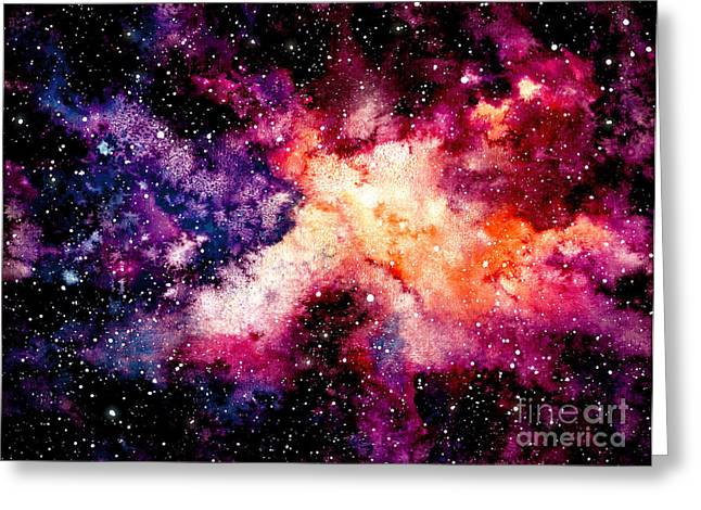Watercolor Background With Outer Space Greeting Card by Nebula Cordata