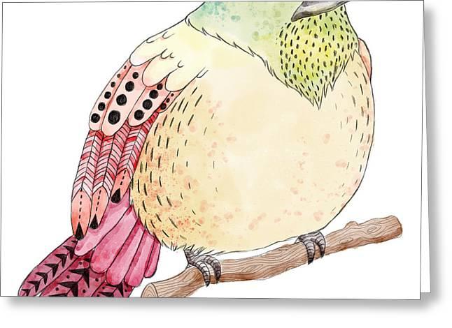 Watercolor Birds Illustration. Hand Greeting Card