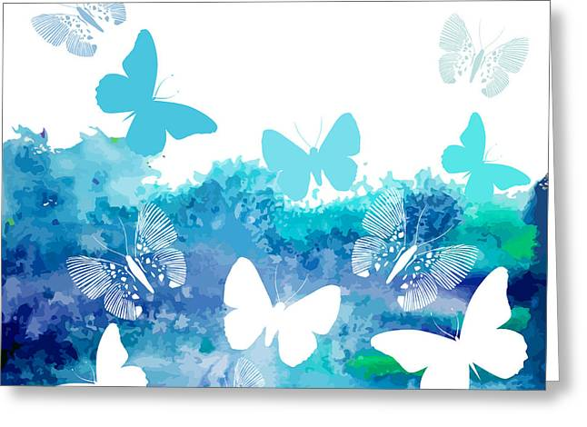 Watercolor Blue Background With Greeting Card