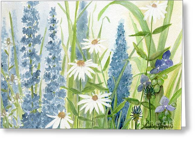 Watercolor Blue Flowers Greeting Card