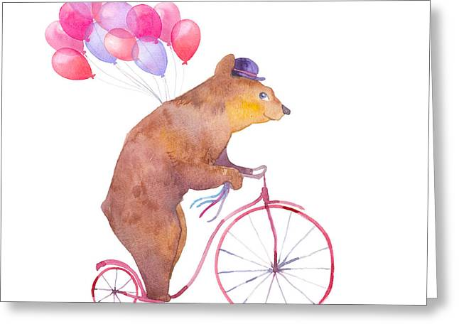 Watercolor Cartoon Bear On Retro Greeting Card