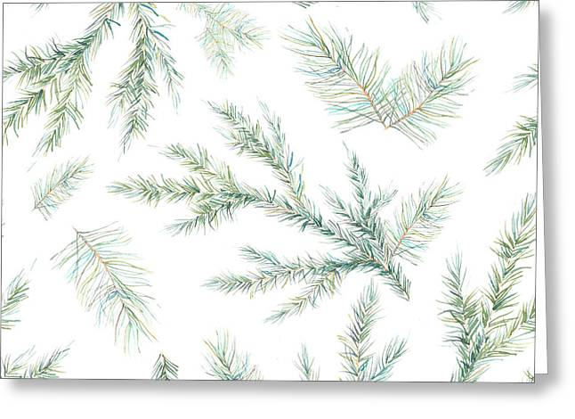 Watercolor Christmas Tree Branches Greeting Card