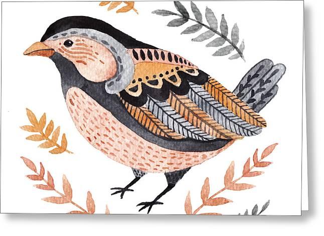 Watercolor Cute Little Bird. Hand Drawn Greeting Card