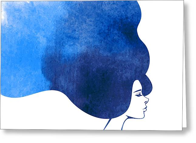 Watercolor Fashion Woman With Long Greeting Card