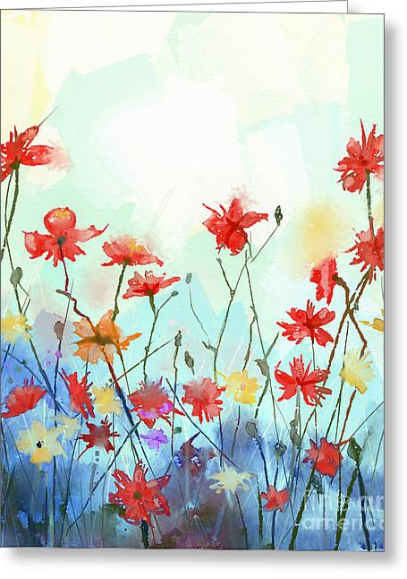 Watercolor Flowers Painting In Soft Greeting Card