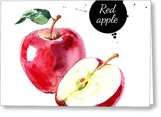Watercolor Hand Drawn Red Apple Greeting Card by Pimlena