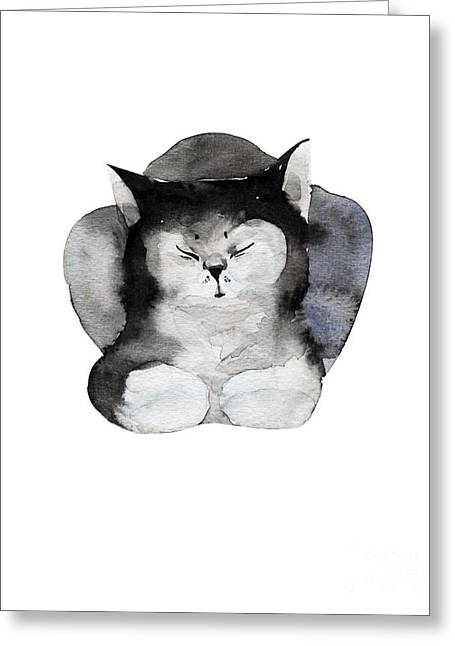 Watercolor Illustration Of Cat For Greeting Card