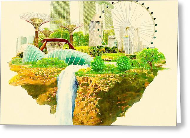 Watercolor Illustration Singapore Scene Greeting Card