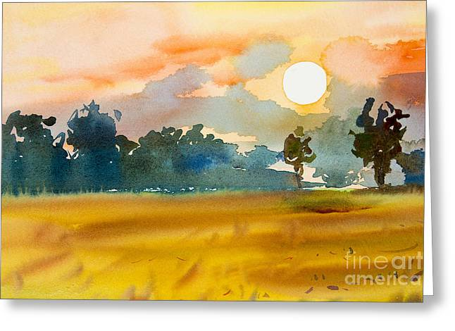 Watercolor  Painting Original Landscape Greeting Card