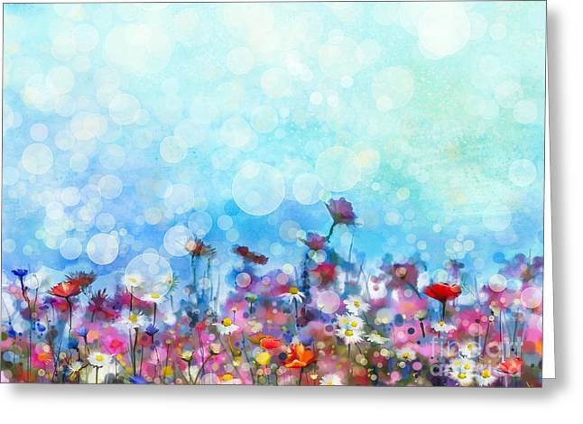 Watercolor Painting Purple Cosmos Greeting Card