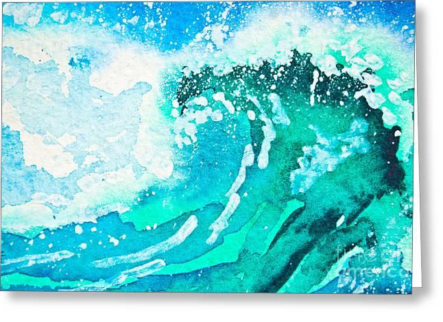 Watercolor Painting - Sea Wave Greeting Card