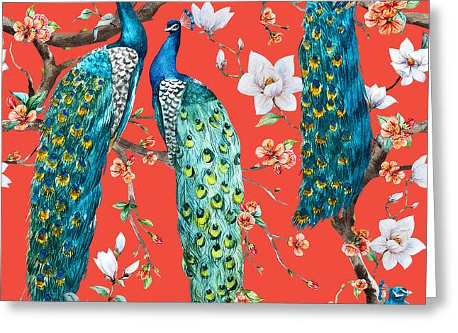 Watercolor Pattern Peacock Lover Greeting Card