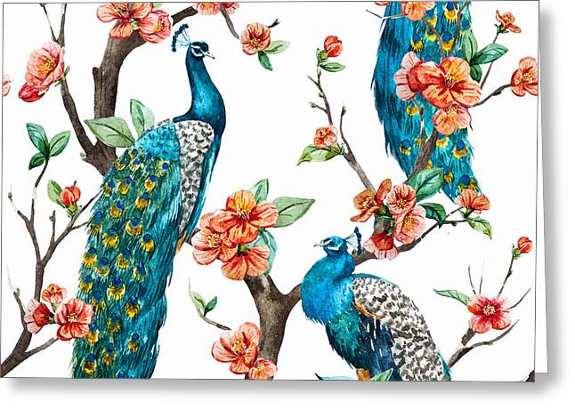Watercolor Pattern Peacock On A Tree Greeting Card