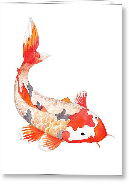Watercolor Rainbow Carp. Hand Drawn Greeting Card