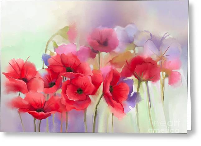 Watercolor Red Poppy Flowers Painting Greeting Card
