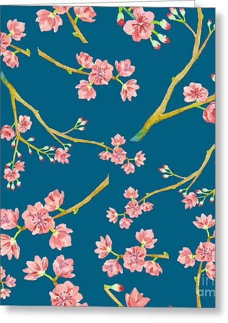 Watercolor Sakura Pattern. Seamless Greeting Card