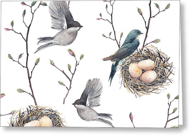 Watercolor Seamless Pattern With Nest Greeting Card