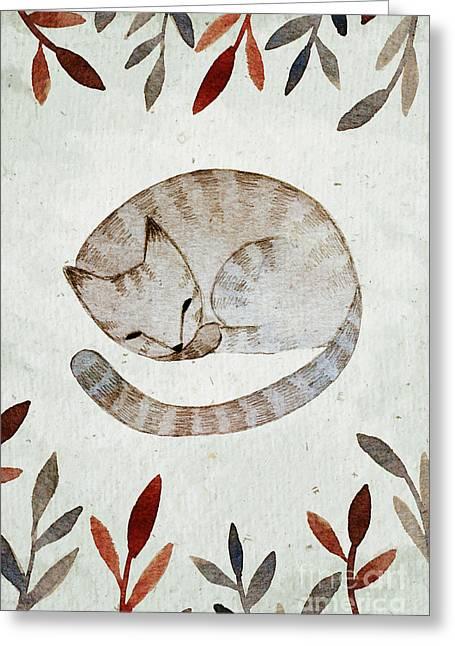 Watercolor Sleeping Cat Illustration Greeting Card