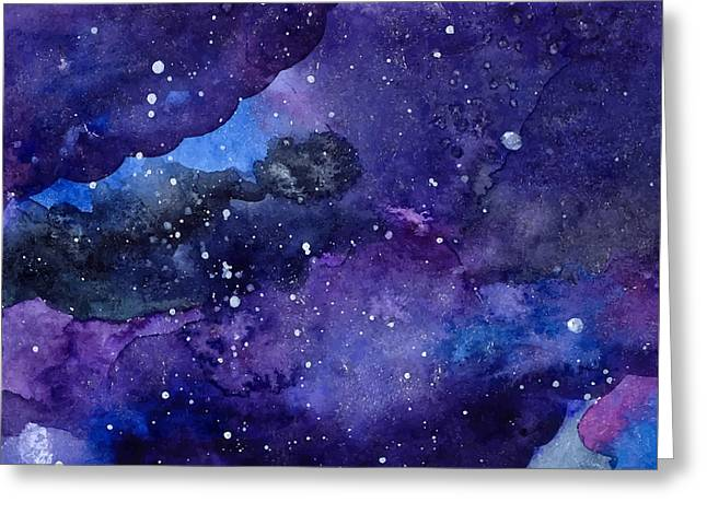 Watercolor Space Texture With Glowing Greeting Card