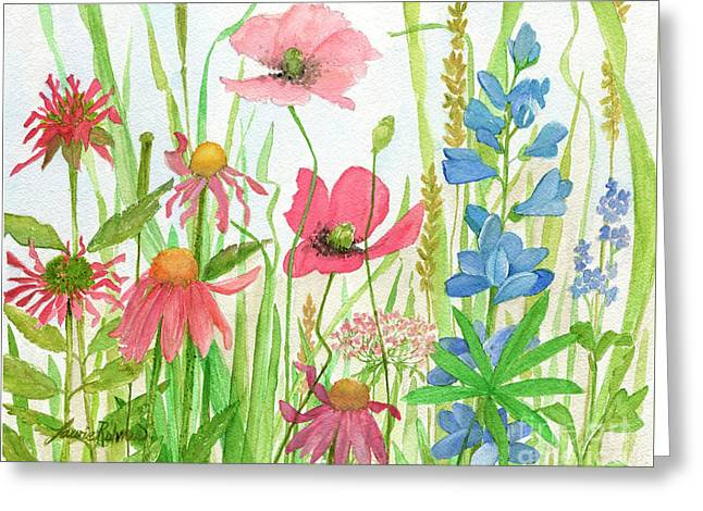 Watercolor Touch Of Blue Flowers Greeting Card