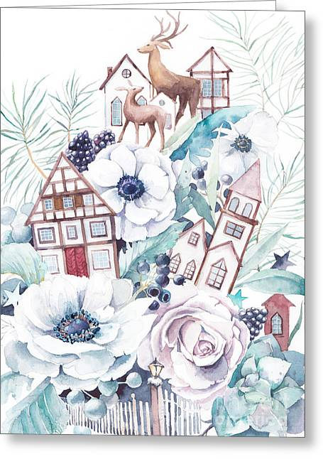 Watercolor Winter Fairytale Greeting Card