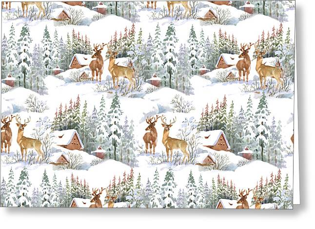 Watercolor Winter Landscape With Deers Greeting Card