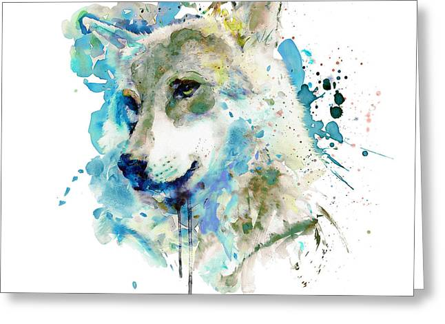 Watercolor Wolf Portrait Greeting Card