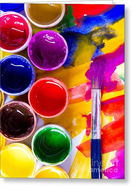 Watercolors And Brushes Greeting Card