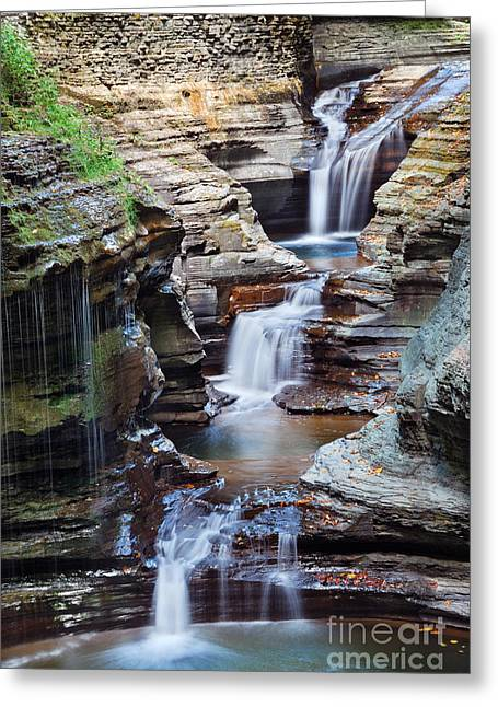 Waterfall Closeup In Woods With Rocks Greeting Card
