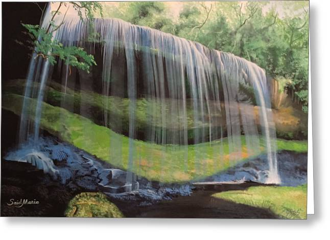 Greeting Card featuring the painting Waterfall by Said Marie
